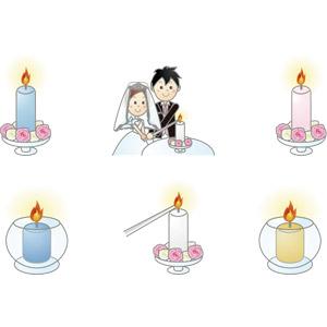 フリーイラスト, ベクター画像, AI, 結婚式(ブライダル), キャンドルサービル, 花婿(新郎), 花嫁(新婦), ろうそく(ロウソク)