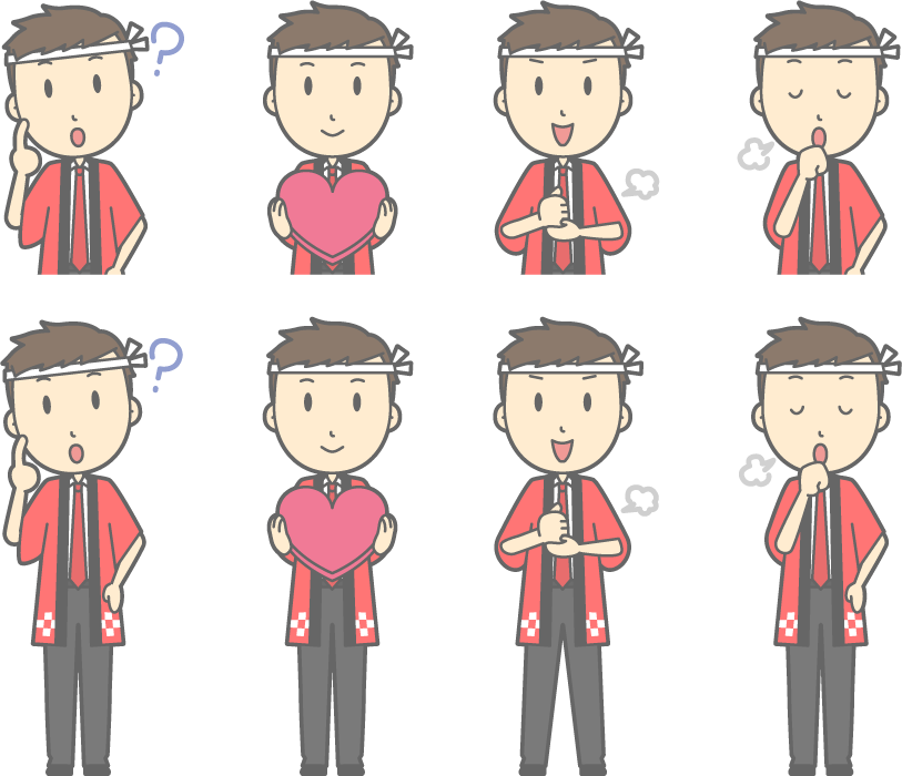 フリーイラスト 咳払いするなどの8種類の法被姿の販売員のセット