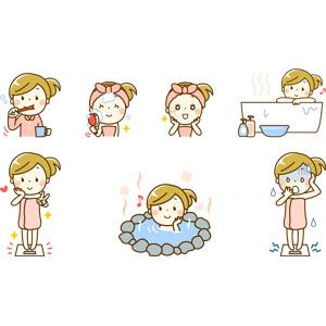 フリーイラスト, 人物, 女性, 美容, 歯磨き(ハミガキ), デンタルケア, 顔を洗う(洗顔), スキンケア, お風呂, 入浴, 浴槽(バスタブ), 温泉, 露天風呂, 体重計(ヘルスメーター), ダイエット, 肥満(メタボ), 衝撃(ショック), ピースサイン(Vサイン)