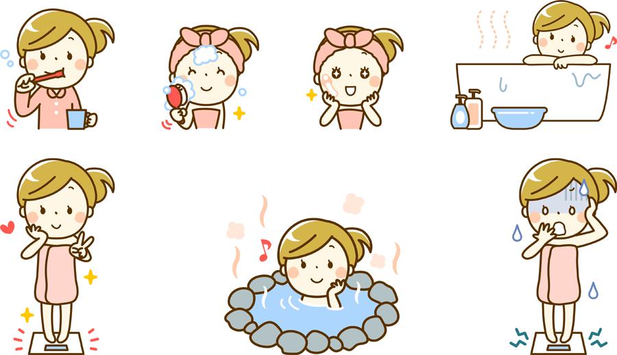 フリーイラスト お風呂に入るなどの7種類の女性のセット