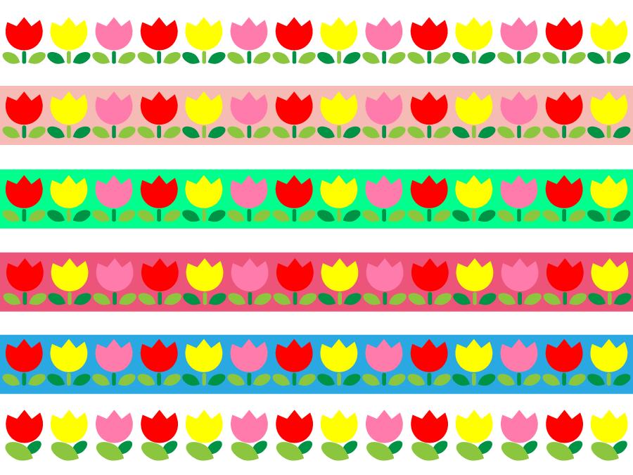 フリーイラスト 6種類のチューリップのライン