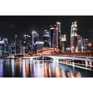 フリー写真, 風景, 建造物, 建築物, 高層ビル, 都市, 街並み(町並み), 橋, 河川, 夜, 夜景, シンガポールの風景