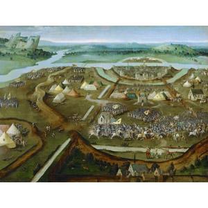 フリー絵画, ヨアヒム・パティニール, 歴史画, 戦争, パヴィアの戦い, イタリアの風景, 城, テント, 兵士, 騎兵, 人込み(人混み)