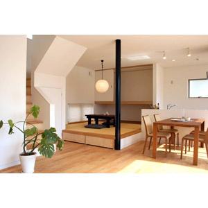 フリー写真, 風景, 部屋, リビングルーム, 食卓(テーブル), 椅子(チェア), 畳(タタミ), 観葉植物