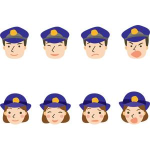 フリーイラスト, ベクター画像, AI, 人物, 職業, 仕事, 警察, 警察官(お巡りさん), 婦人警官(婦警), 顔, 笑う(笑顔), 怒る, 困る