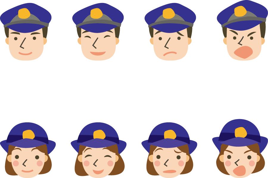 フリーイラスト 8種類の男女の警察官の顔のセット