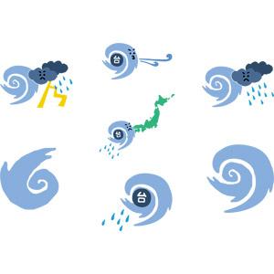 フリーイラスト, ベクター画像, AI, 災害, 自然災害, 台風, 風, 雨, 雲, 落雷(カミナリ), 日本列島, 渦巻き状