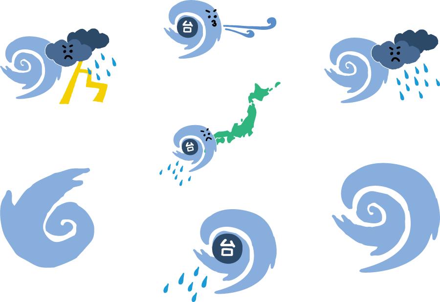 フリーイラスト 7種類の台風のセット