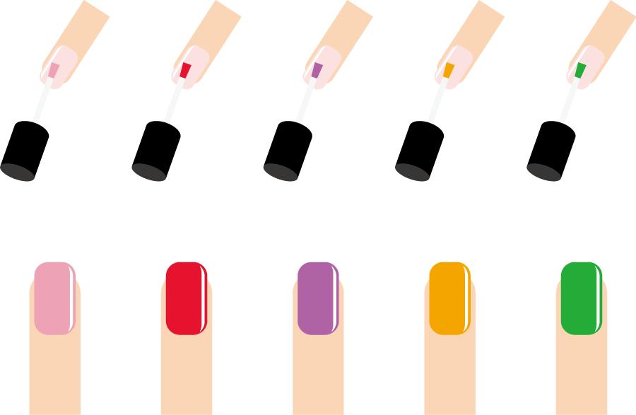 フリーイラスト 10種類のマニキュアを塗る爪のセット