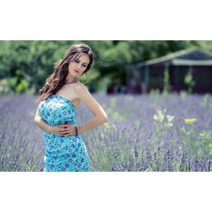 フリー写真, 人物, 女性, 外国人女性, 女性(00195), ルーマニア人, 人と花, 植物, 花, ラベンダー, 紫色の花, 花畑, 腰に手を当てる