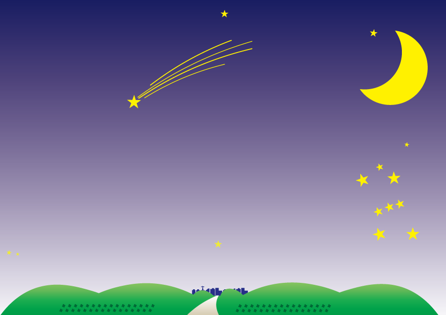 フリーイラスト 夜空の三日月と流れ星の背景