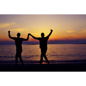 フリー写真, 人物, シルエット(人物), ガッツポーズ, 手をつなぐ, 二人, 夕暮れ(夕方), 夕焼け, ビーチ(砂浜), 海