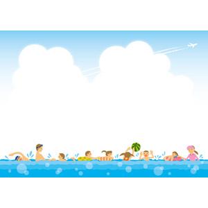 フリーイラスト, ベクター画像, EPS, 人と風景, 積乱雲(入道雲), 夏, 飛行機雲, 海, 海水浴, レジャー, 浮き輪, 泳ぐ(水泳), ビーチボール