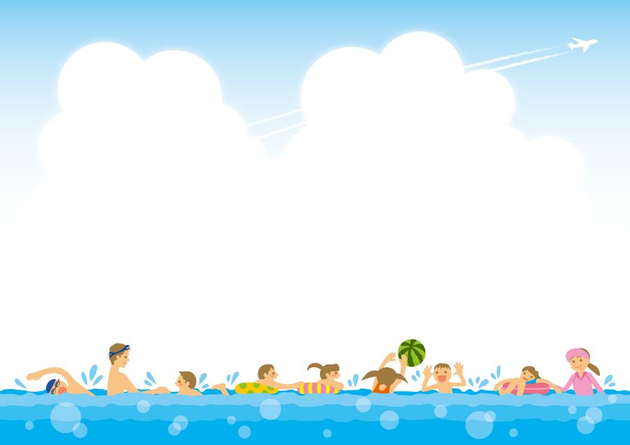 フリーイラスト 夏の海で海水浴を楽しむ人々