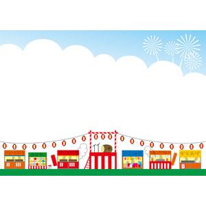 フリーイラスト, ベクター画像, EPS, 背景, 年中行事, お祭り, 夏祭り, 盆踊り, やぐら, 提灯, 8月, 縁日, 屋台, 紅白幕, 和太鼓