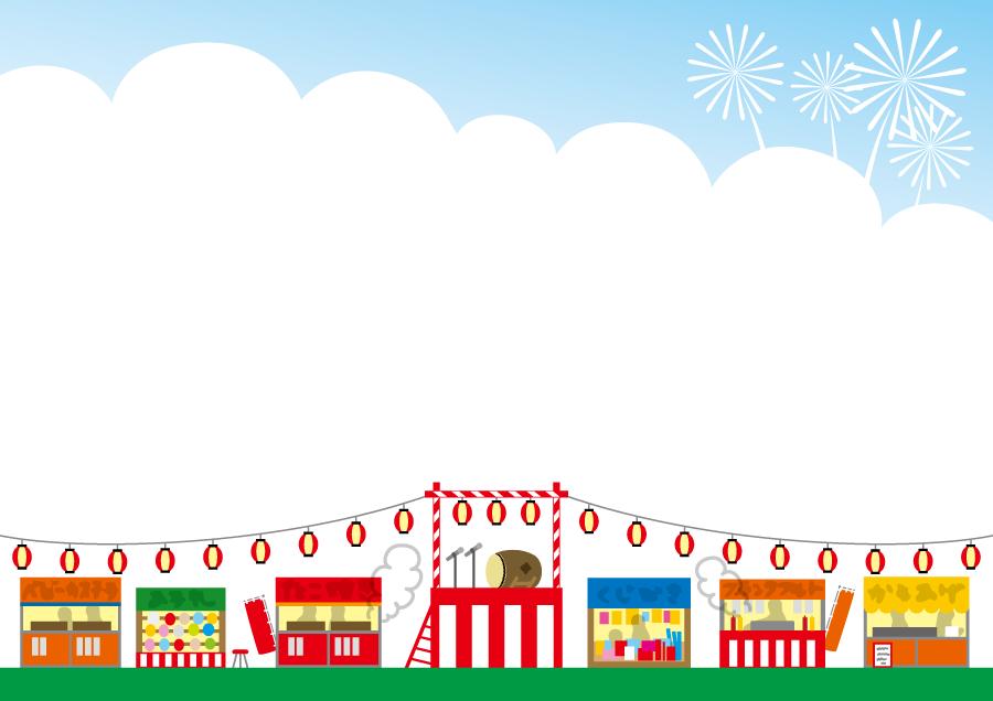 フリーイラスト お祭りの屋台と祭り櫓の背景