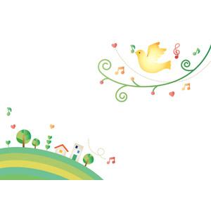 フリーイラスト, ベクター画像, EPS, 背景, 小鳥, 音楽, 音符, 街(町)