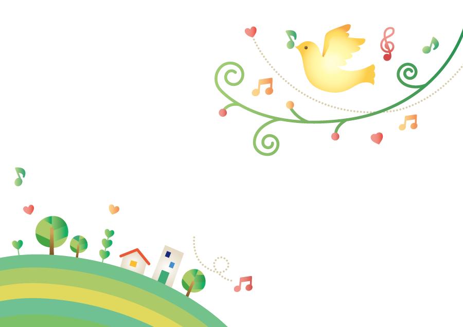 フリーイラスト メロディを奏でる鳥と街の背景