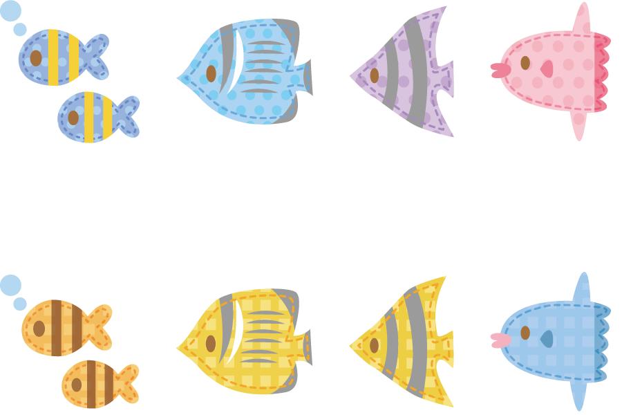 フリーイラスト 魚と熱帯魚とまんぼうのアップリケのセット