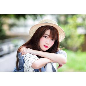 フリー写真, 人物, 女性, アジア人女性, 欣欣(00001), 中国人, 麦わら帽子, 帽子