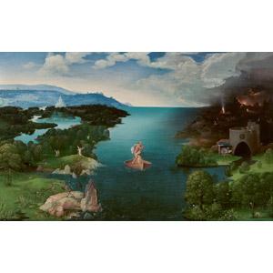 フリー絵画, ヨアヒム・パティニール, 物語画, 神話, ギリシア神話, カロン, 河川, 船, 手漕ぎボート, 死, 冥界(冥府), 天使(エンジェル), 天国, 地獄