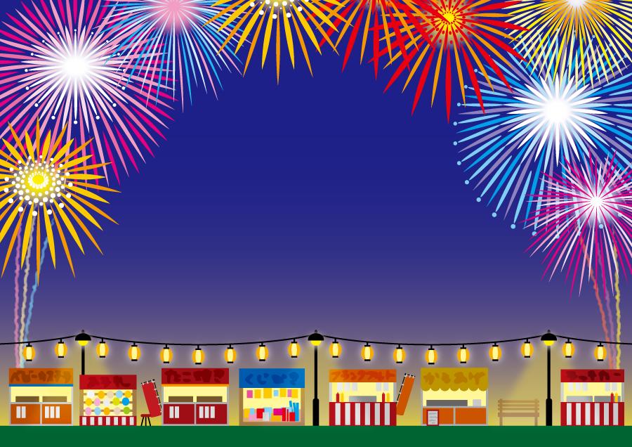 フリーイラスト 屋台が並んだ花火大会の背景