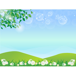 フリーイラスト, ベクター画像, AI, 風景, 青空, 丘, 玉ボケ, 植物, 葉っぱ, 新緑, 花, 白色の花, 草むら