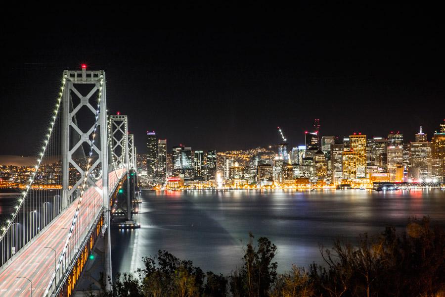 フリー写真 サンフランシスコ・オークランド・ベイブリッジと夜景