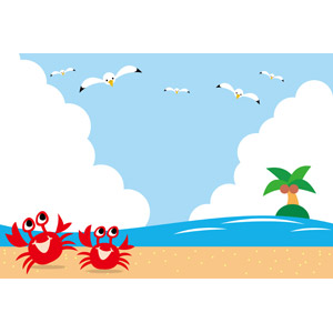 フリーイラスト, ベクター画像, EPS, 背景, 積乱雲(入道雲), 夏, 海, ビーチ(砂浜), 椰子(ヤシ), 島, 鴎(カモメ), 蟹(カニ)
