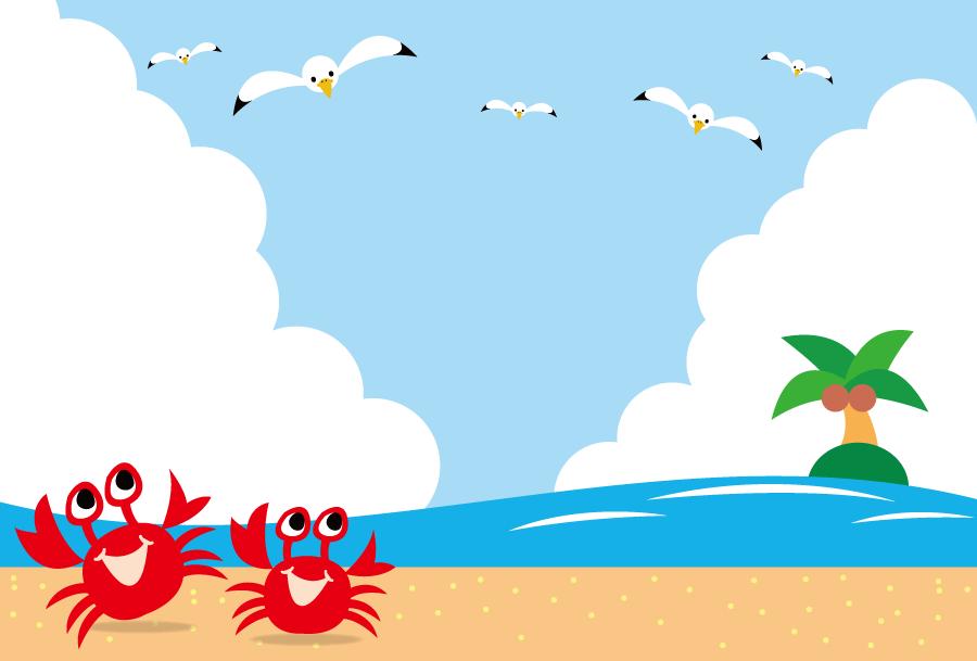 フリーイラスト 青空を飛ぶカモメと砂浜を歩くカニと島の背景