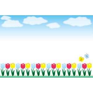 フリーイラスト, ベクター画像, AI, 背景, フレーム, 上下フレーム, 青空, 植物, 花, チューリップ, 花畑, 蝶(チョウ)