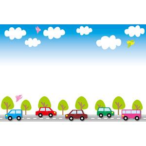 フリーイラスト, ベクター画像, EPS, 背景, フレーム, 上下フレーム, 青空, 乗り物, 自動車, 道路, 雲, 青空, 小鳥