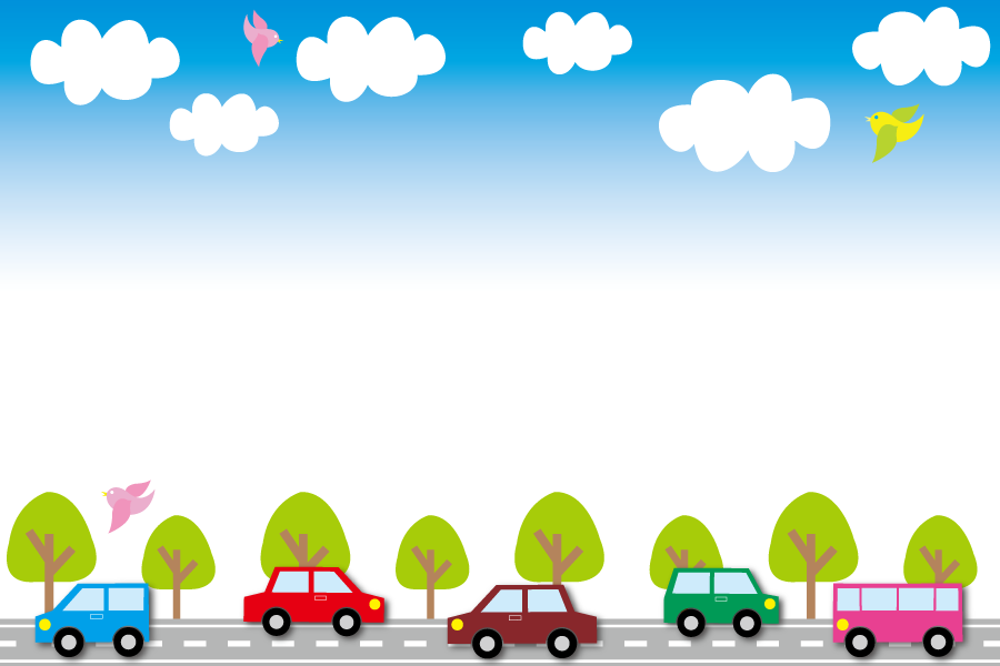 フリーイラスト 道路を走る車と鳥が飛ぶ青空のフレーム