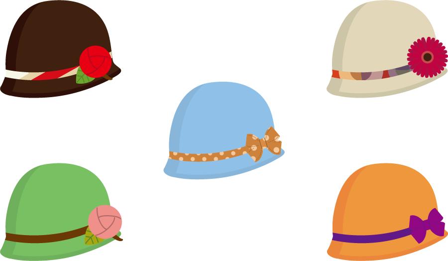 フリーイラスト 5種類のクローシェ帽のセット