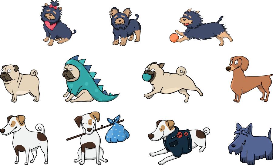 フリーイラスト ヨークシャーテリアやパグなどの11種類の犬のセット