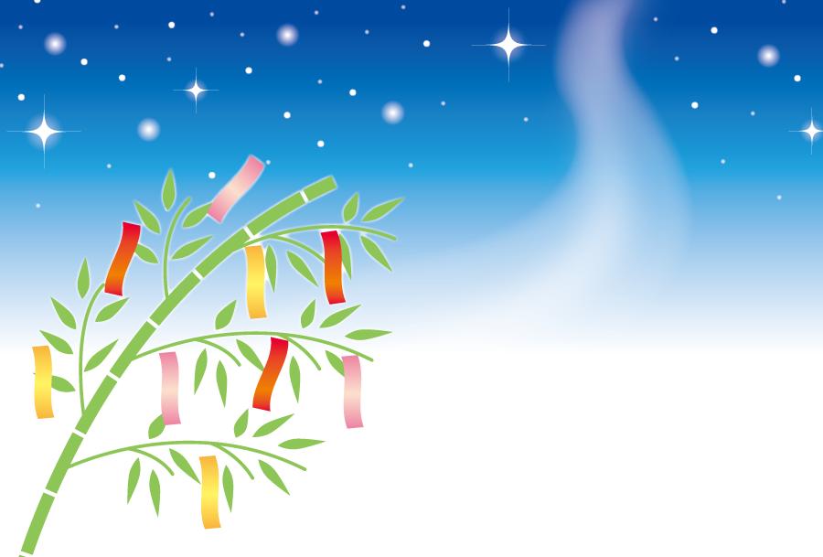 フリーイラスト 七夕の笹飾りと天の川の背景