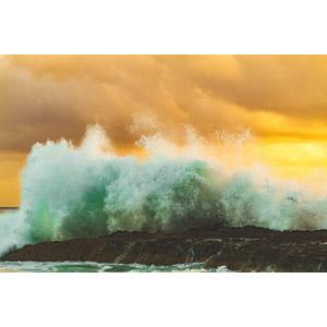 フリー写真, 風景, 自然, 海岸, 波, 波しぶき, 夕暮れ(夕方), 夕焼け, オーストラリアの風景