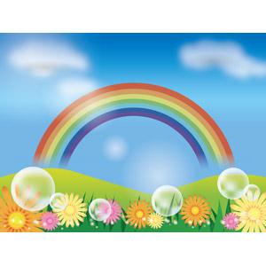フリーイラスト, ベクター画像, AI, 風景, 青空, 虹, 丘, 花, しゃぼん玉(シャボン玉)