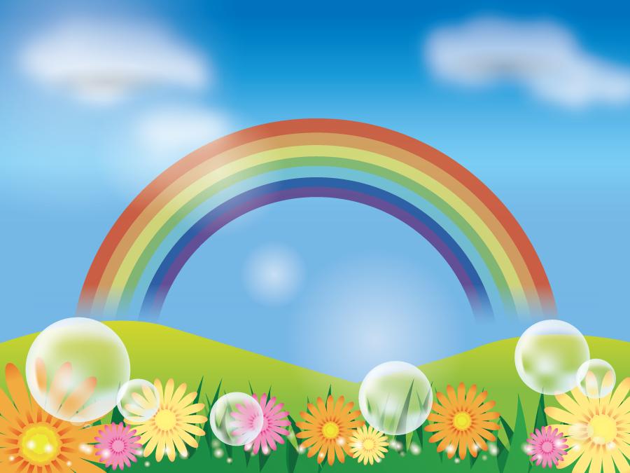 フリーイラスト 虹の架かる丘と草花の風景