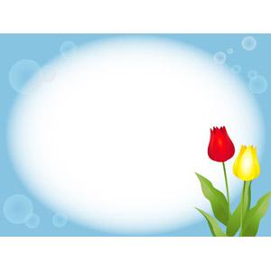 フリーイラスト, ベクター画像, AI, 背景, フレーム, 円形フレーム, 植物, 花, チューリップ, しゃぼん玉(シャボン玉)