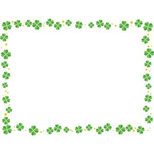 フリーイラスト, ベクター画像, AI, 背景, フレーム, 囲みフレーム, 植物, クローバー(シロツメクサ), 四つ葉のクローバー