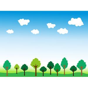 フリーイラスト, ベクター画像, EPS, 風景, 自然, 樹木, 青空