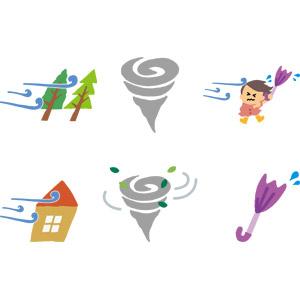フリーイラスト, ベクター画像, AI, 竜巻(トルネード), 災害, 自然災害, 風, 台風, 傘