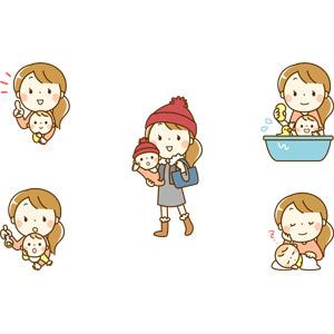 フリーイラスト, 人物, 親子, 母親(お母さん), 子供, 赤ちゃん, 寝る(寝顔), 指差す, アドバイス, 離乳食, お風呂, 入浴