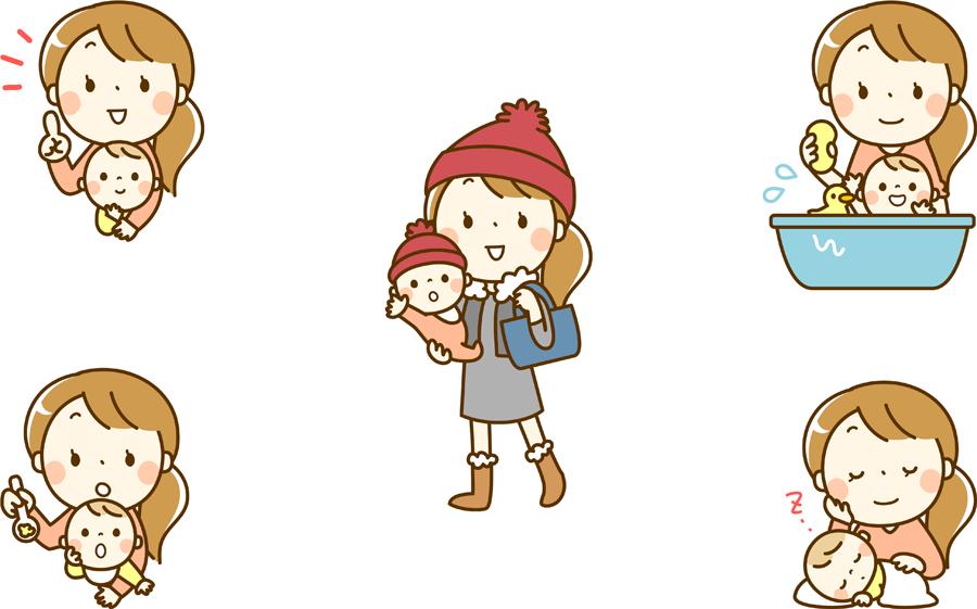 フリーイラスト 離乳食を食べるなどの5種類のママと赤ちゃんのセット