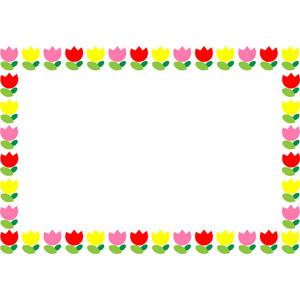 フリーイラスト, ベクター画像, EPS, 背景, フレーム, 囲みフレーム, 植物, 花, チューリップ