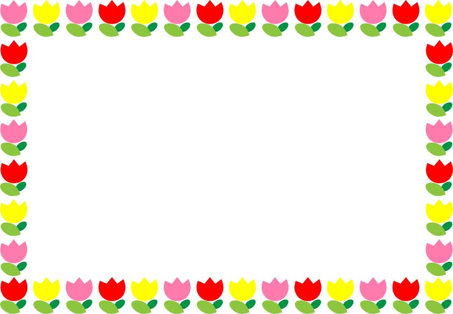 フリーイラスト チューリップの飾り枠