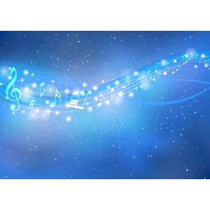フリーイラスト, ベクター画像, AI, 背景, 夜空, 夜, 星(スター), 天の川, 音楽, 音符, 楽譜