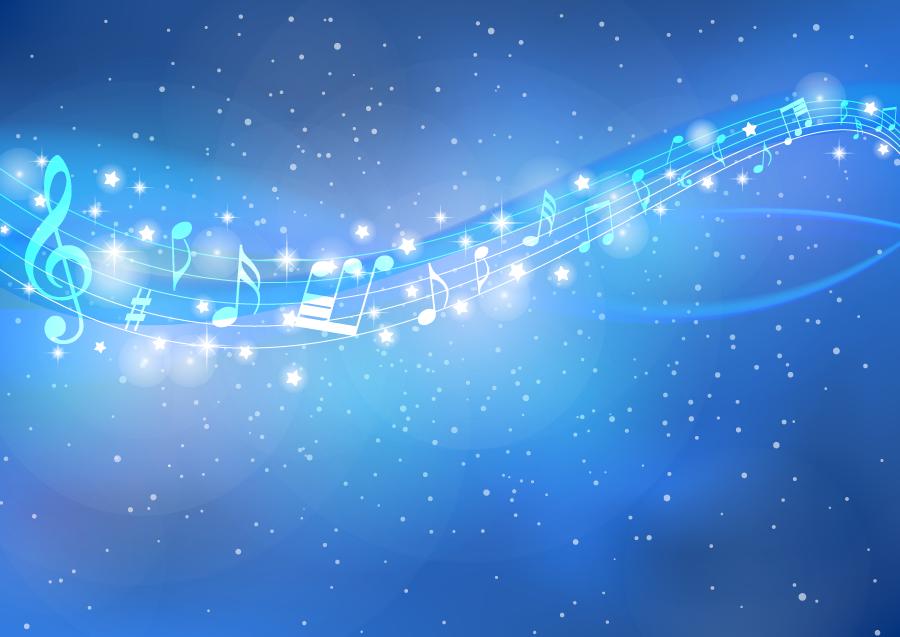 フリーイラスト 天の川と楽譜の背景