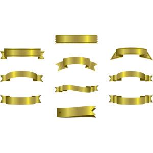 フリーイラスト, ベクター画像, AI, 飾り(装飾), リボン, 帯リボン, 金色(ゴールド)